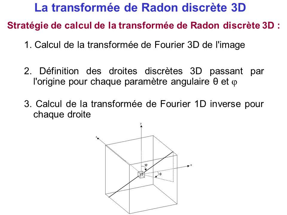 La transformée de Radon discrète 3D 1. Calcul de la transformée de Fourier 3D de l'image 3. Calcul de la transformée de Fourier 1D inverse pour chaque