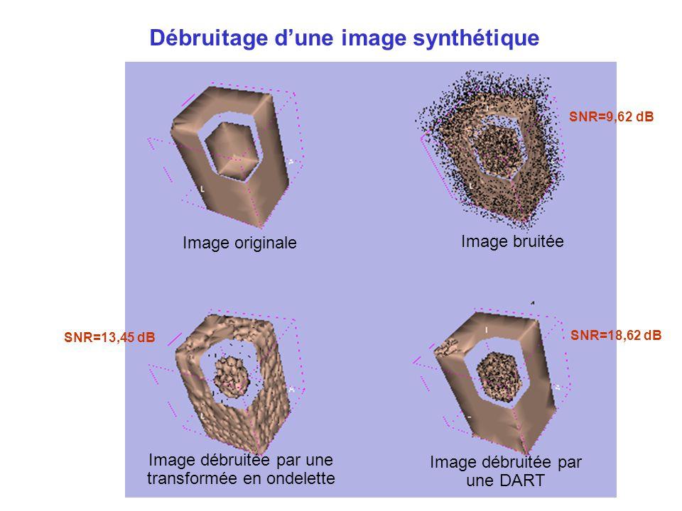 Débruitage d'une image synthétique Image originale Image bruitée Image débruitée par une transformée en ondelette Image débruitée par une DART SNR=13,