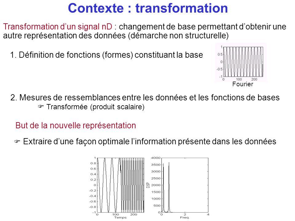 Contexte : transformation Transformation d'un signal nD : changement de base permettant d'obtenir une autre représentation des données (démarche non s