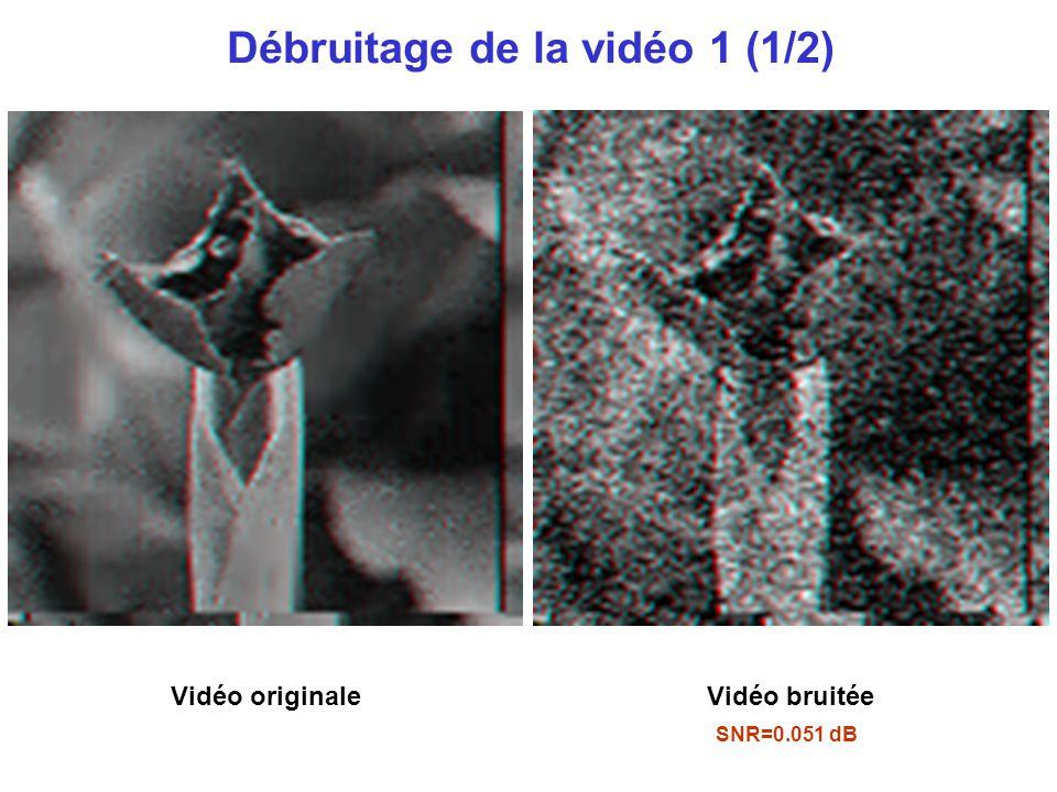 Débruitage de la vidéo 1 (1/2) SNR=0.051 dB Vidéo originaleVidéo bruitée