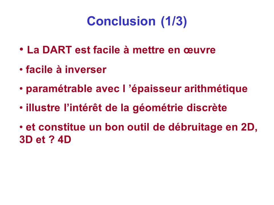 Conclusion (1/3) La DART est facile à mettre en œuvre facile à inverser paramétrable avec l 'épaisseur arithmétique illustre l'intérêt de la géométrie