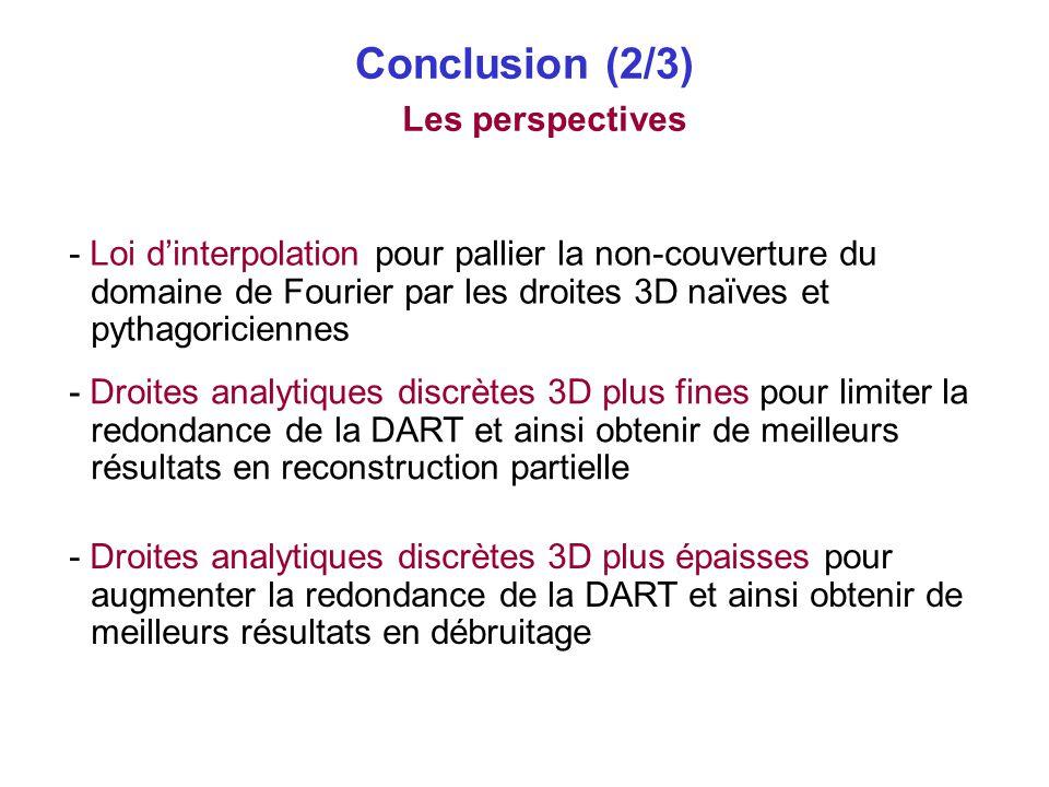 Conclusion (2/3) Les perspectives - Droites analytiques discrètes 3D plus fines pour limiter la redondance de la DART et ainsi obtenir de meilleurs ré