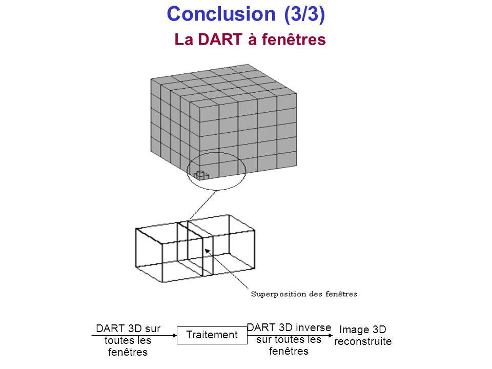 Conclusion (3/3) La DART à fenêtres DART 3D sur toutes les fenêtres Traitement DART 3D inverse sur toutes les fenêtres Image 3D reconstruite