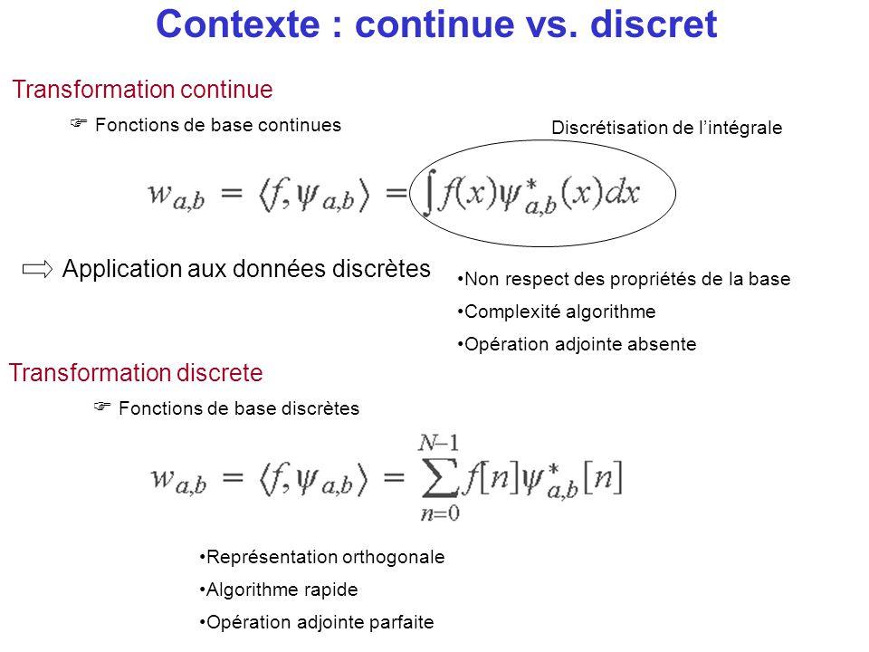 Contexte : continue vs. discret Transformation continue  Fonctions de base continues Discrétisation de l'intégrale Application aux données discrètes