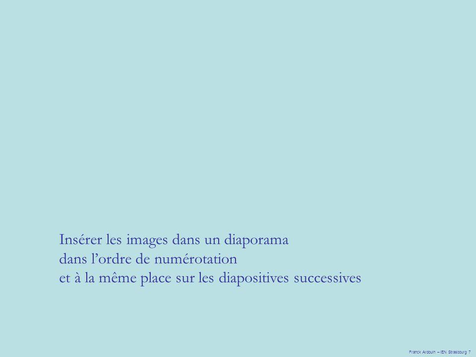 Franck Ardouin – IEN Strasbourg 7 Insérer les images dans un diaporama dans l'ordre de numérotation et à la même place sur les diapositives successive