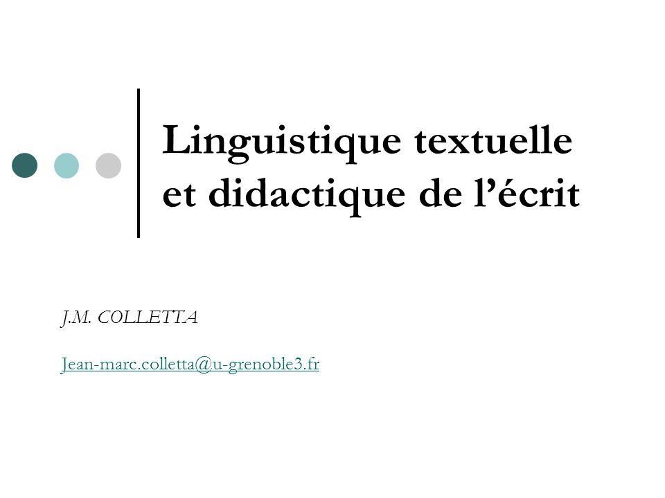 Linguistique textuelle et didactique de l'écrit J.M. COLLETTA Jean-marc.colletta@u-grenoble3.fr