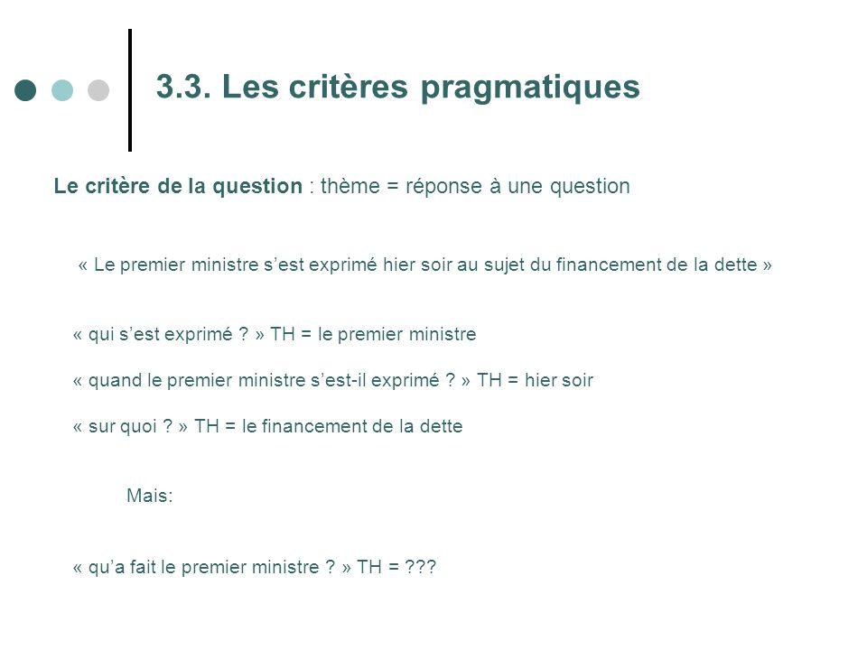 3.3. Les critères pragmatiques Le critère de la question : thème = réponse à une question « Le premier ministre s'est exprimé hier soir au sujet du fi