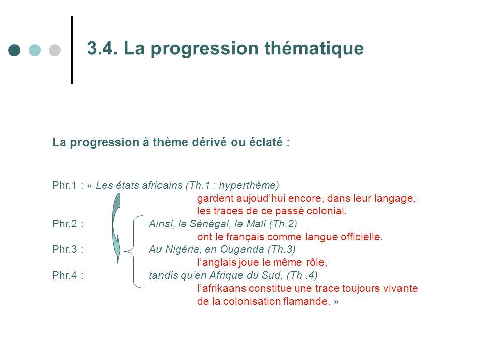 3.4. La progression thématique La progression à thème dérivé ou éclaté : Phr.1 : « Les états africains (Th.1 : hyperthème) gardent aujoud'hui encore,