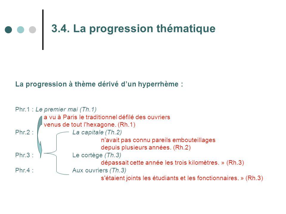 3.4. La progression thématique La progression à thème dérivé d'un hyperrhème : Phr.1 : Le premier mai (Th.1) a vu à Paris le traditionnel défilé des o