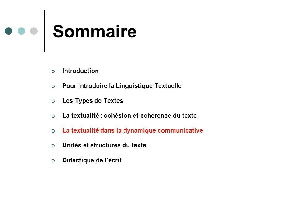 Sommaire Introduction Pour Introduire la Linguistique Textuelle Les Types de Textes La textualité : cohésion et cohérence du texte La textualité dans