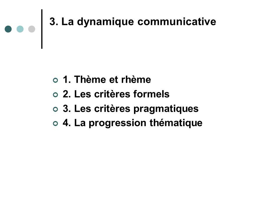 1. Thème et rhème 2. Les critères formels 3. Les critères pragmatiques 4. La progression thématique 3. La dynamique communicative