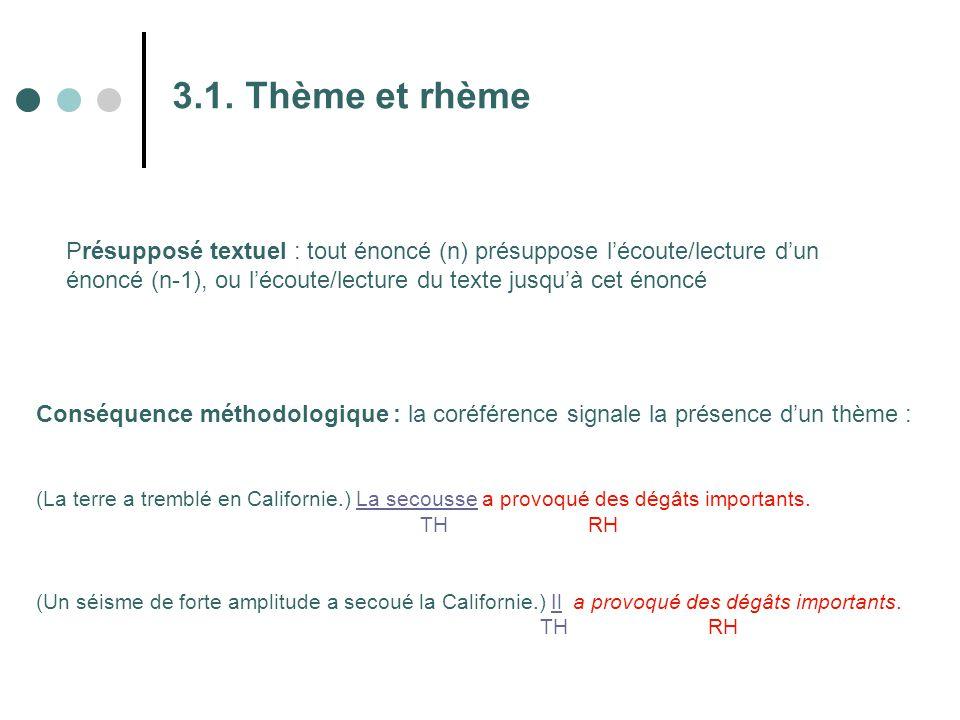 3.1. Thème et rhème Présupposé textuel : tout énoncé (n) présuppose l'écoute/lecture d'un énoncé (n-1), ou l'écoute/lecture du texte jusqu'à cet énonc