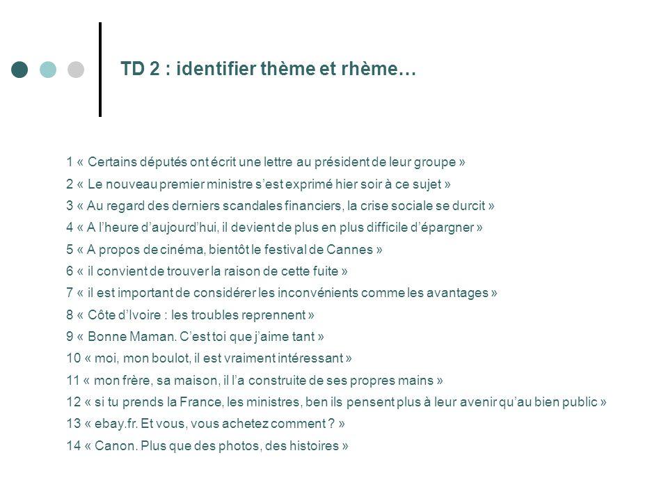 TD 2 : identifier thème et rhème… 1 « Certains députés ont écrit une lettre au président de leur groupe » 2 « Le nouveau premier ministre s'est exprim