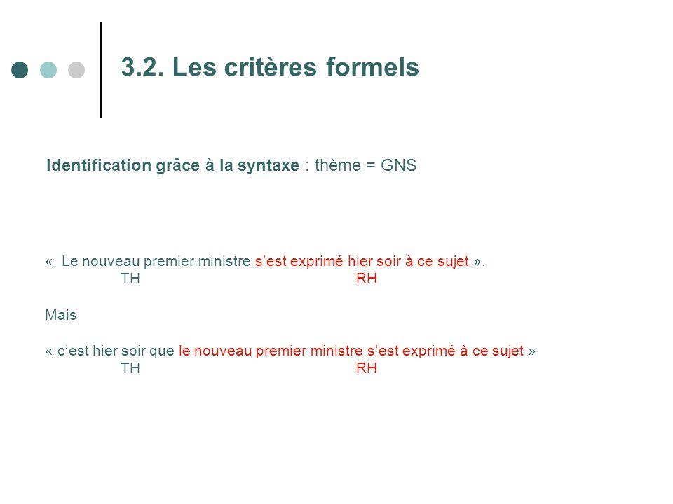 3.2. Les critères formels Identification grâce à la syntaxe : thème = GNS « Le nouveau premier ministre s'est exprimé hier soir à ce sujet ». TH RH Ma