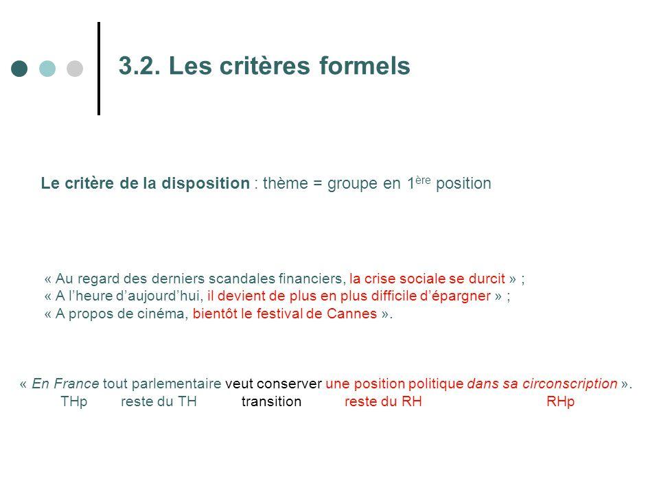 3.2. Les critères formels Le critère de la disposition : thème = groupe en 1 ère position « Au regard des derniers scandales financiers, la crise soci