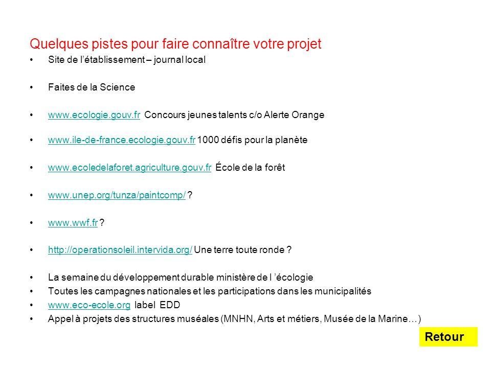 Quelques pistes pour faire connaître votre projet Site de l'établissement – journal local Faites de la Science www.ecologie.gouv.fr Concours jeunes ta