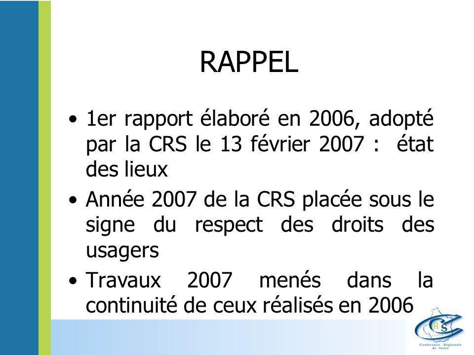 RAPPEL 1er rapport élaboré en 2006, adopté par la CRS le 13 février 2007 : état des lieux Année 2007 de la CRS placée sous le signe du respect des dro