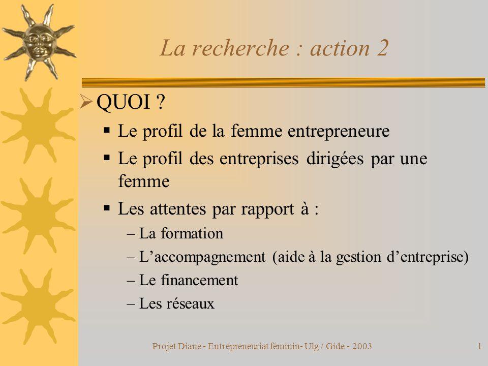 Projet Diane - Entrepreneuriat féminin- Ulg / Gide - 20031 La recherche : action 2  QUOI .