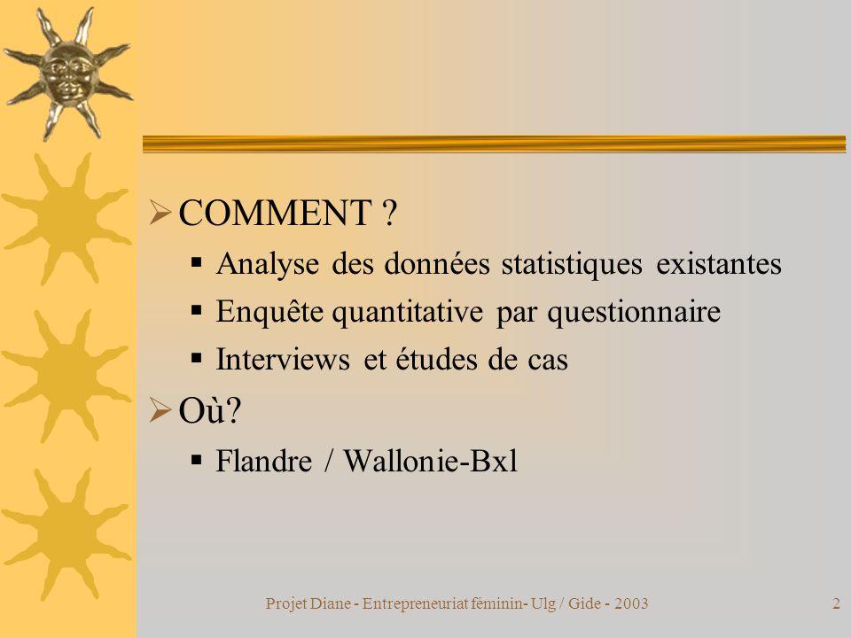 Projet Diane - Entrepreneuriat féminin- Ulg / Gide - 20032  COMMENT .