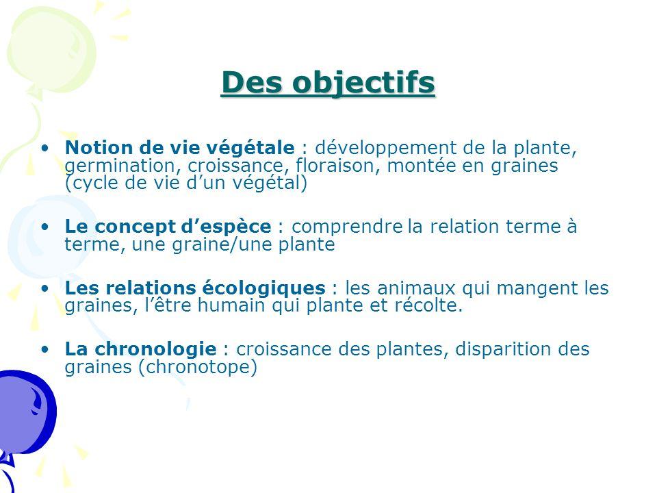 Des objectifs Notion de vie végétale : développement de la plante, germination, croissance, floraison, montée en graines (cycle de vie d'un végétal) L