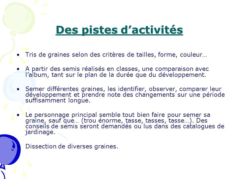 Des pistes d'activités Tris de graines selon des critères de tailles, forme, couleur… A partir des semis réalisés en classes, une comparaison avec l'a