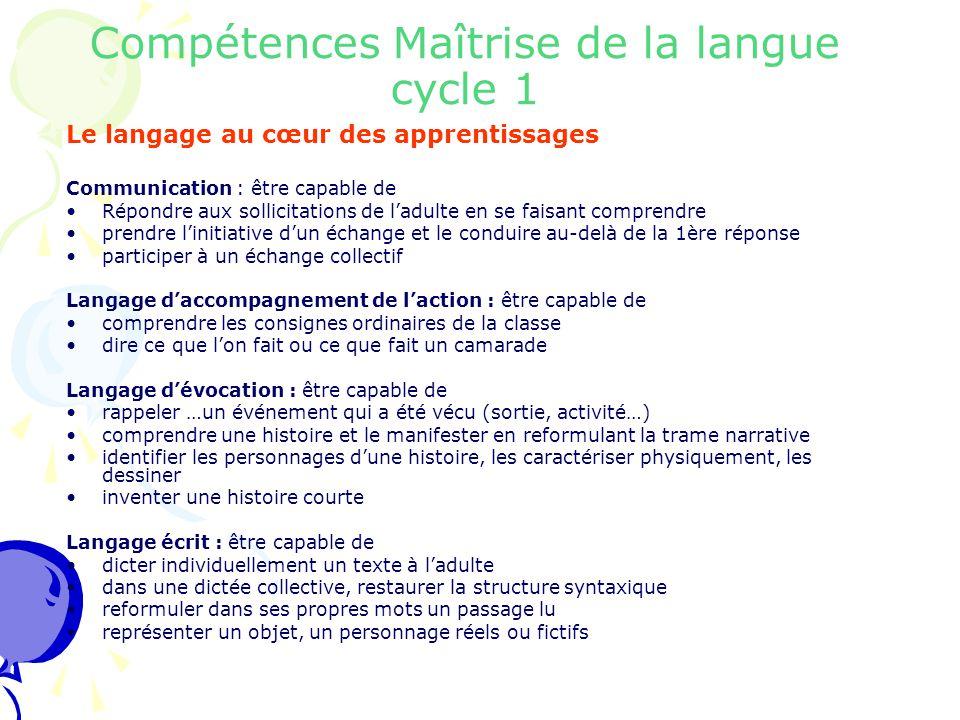 Compétences Maîtrise de la langue cycle 1 Le langage au cœur des apprentissages Communication : être capable de Répondre aux sollicitations de l'adult