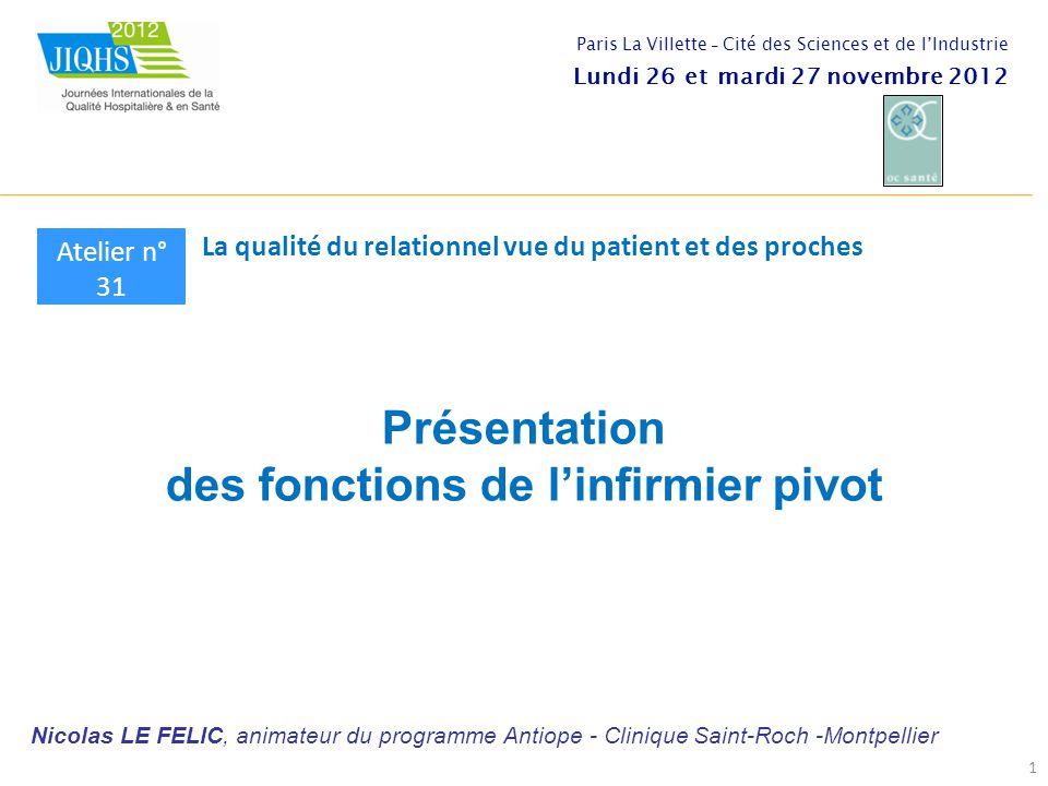 Présentation des fonctions de l'infirmier pivot 1 Atelier n° 31 La qualité du relationnel vue du patient et des proches Paris La Villette - Cité des S