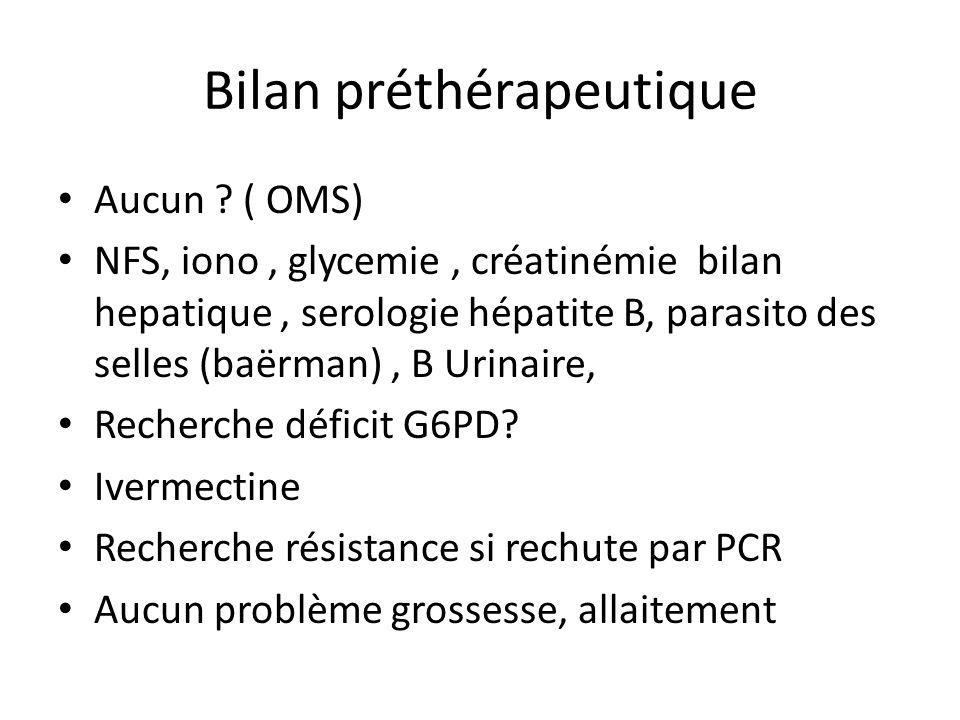 Bilan préthérapeutique Aucun ? ( OMS) NFS, iono, glycemie, créatinémie bilan hepatique, serologie hépatite B, parasito des selles (baërman), B Urinair