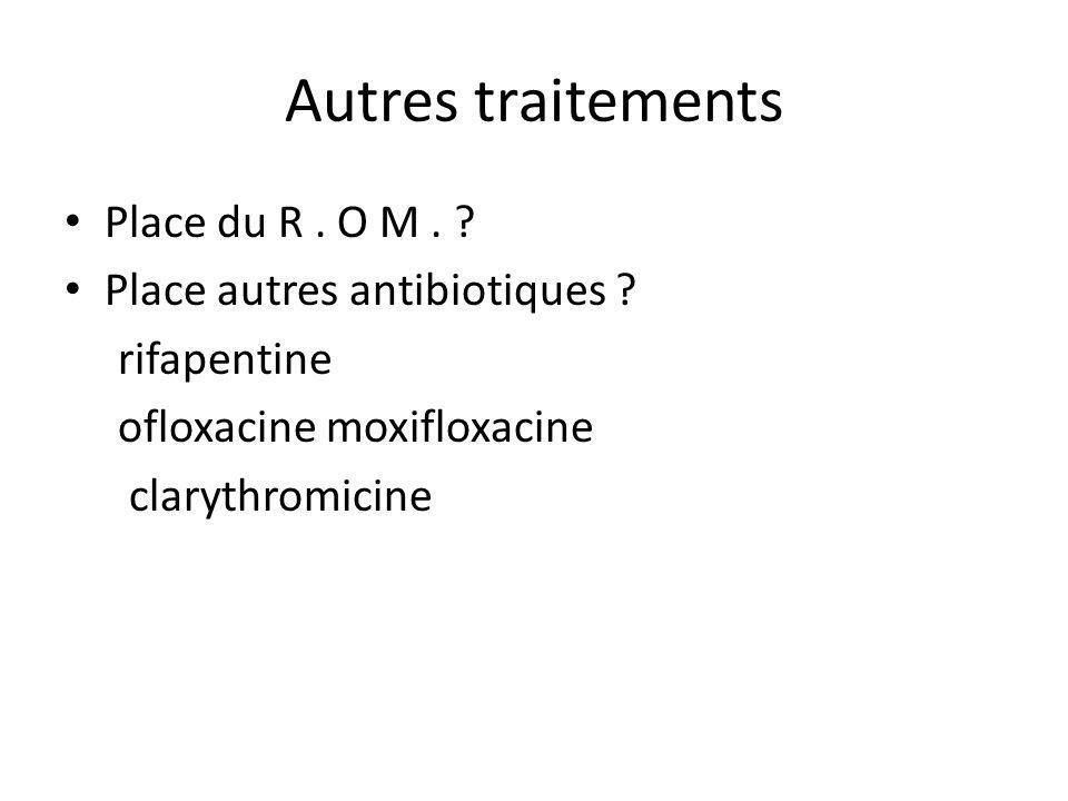 Autres traitements Place du R. O M. ? Place autres antibiotiques ? rifapentine ofloxacine moxifloxacine clarythromicine