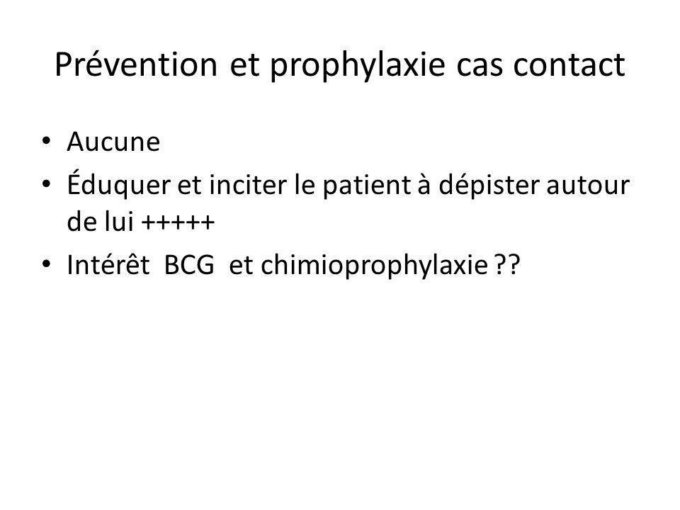 Prévention et prophylaxie cas contact Aucune Éduquer et inciter le patient à dépister autour de lui +++++ Intérêt BCG et chimioprophylaxie ??