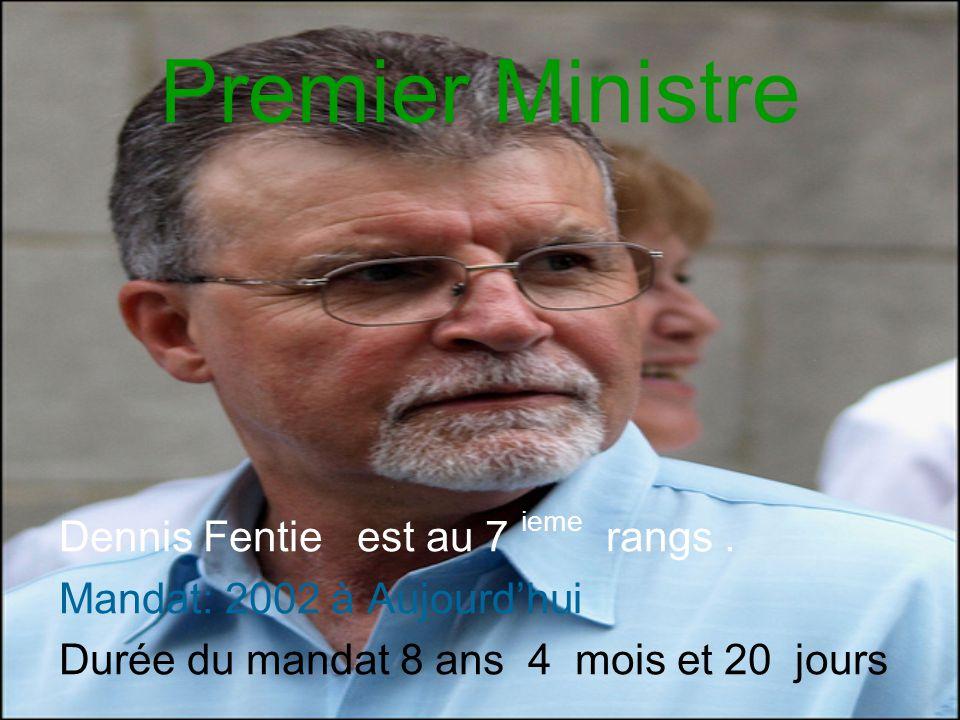 Premier Ministre Dennis Fentie est au 7 ieme rangs. Mandat: 2002 à Aujourd'hui Durée du mandat 8 ans 4 mois et 20 jours