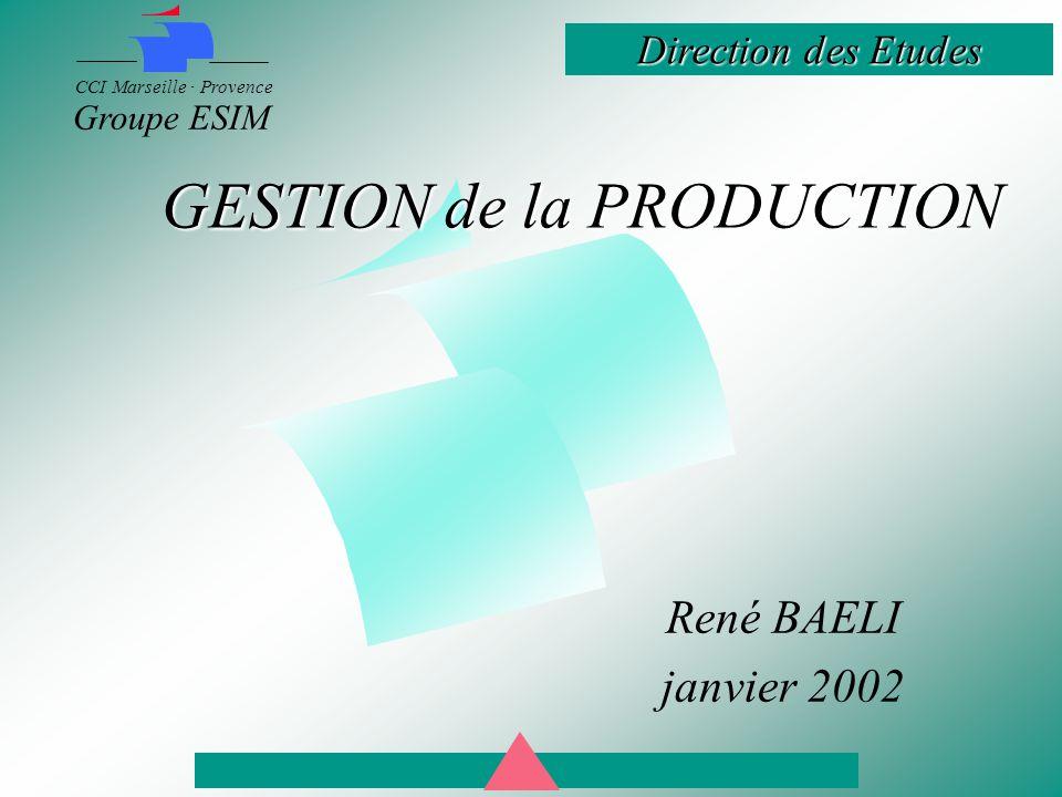 Direction des Etudes CCI Marseille · Provence Groupe ESIM GESTION de la PRODUCTION René BAELI janvier 2002