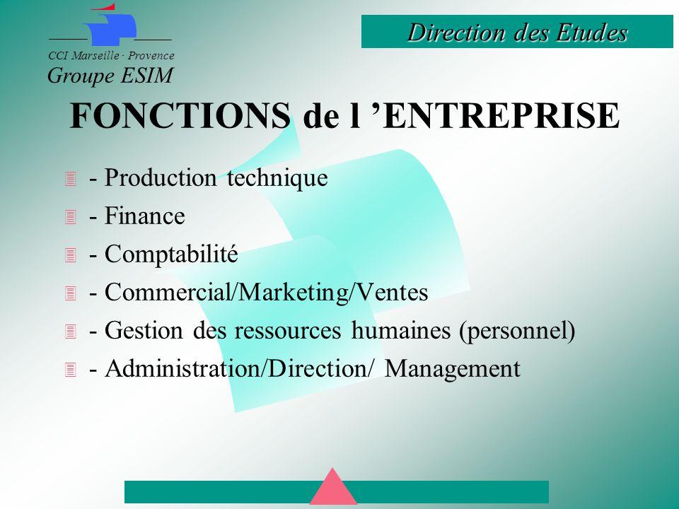 Direction des Etudes CCI Marseille · Provence Groupe ESIM FONCTIONS de l 'ENTREPRISE  - Production technique  - Finance  - Comptabilité  - Commercial/Marketing/Ventes  - Gestion des ressources humaines (personnel)  - Administration/Direction/ Management