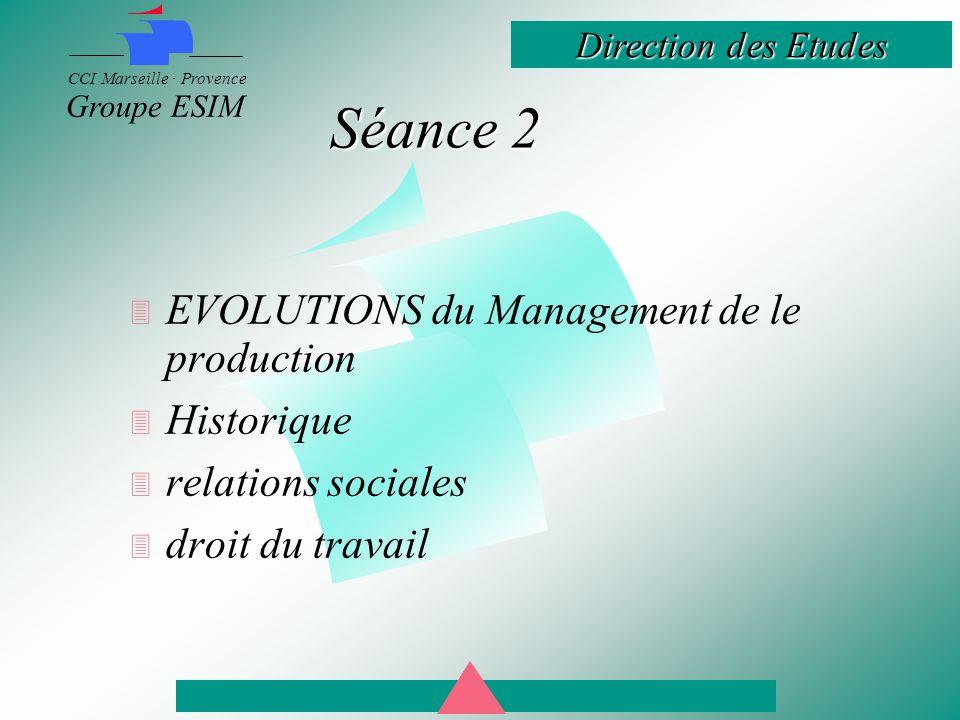 Direction des Etudes CCI Marseille · Provence Groupe ESIM Séance 2  EVOLUTIONS du Management de le production  Historique  relations sociales  droit du travail