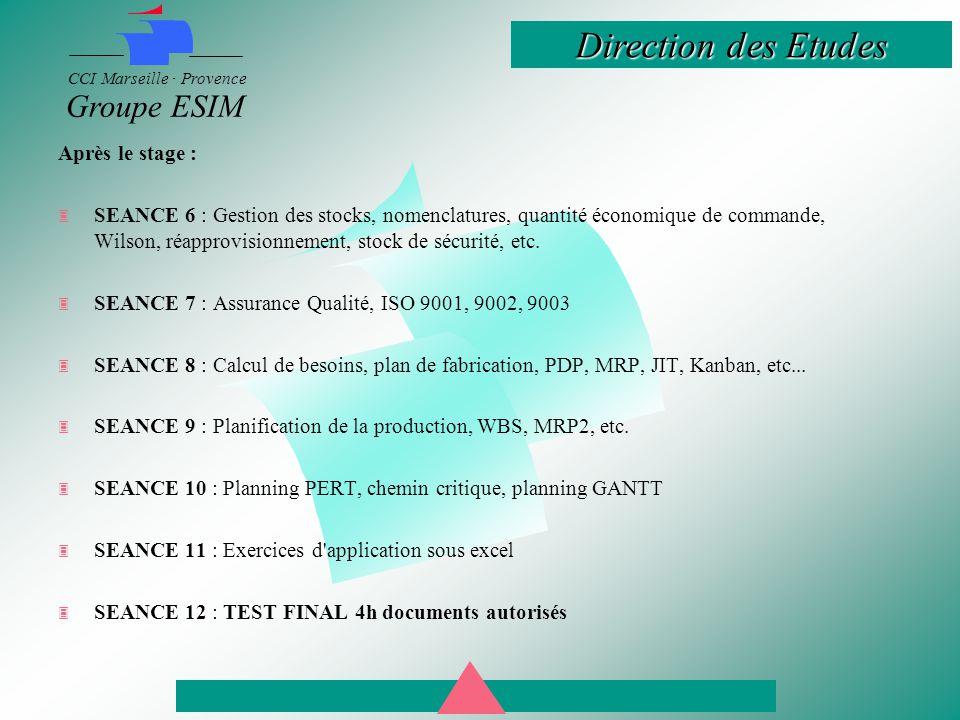 Direction des Etudes CCI Marseille · Provence Groupe ESIM Après le stage :  SEANCE 6 : Gestion des stocks, nomenclatures, quantité économique de commande, Wilson, réapprovisionnement, stock de sécurité, etc.