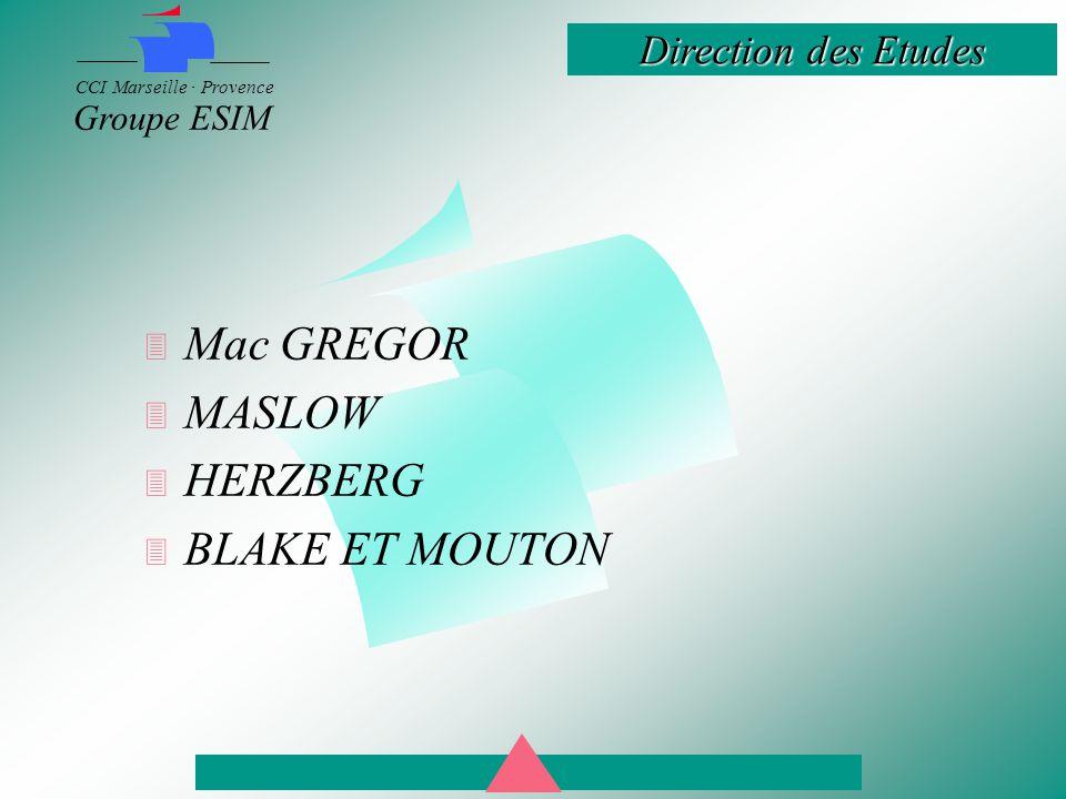 Direction des Etudes CCI Marseille · Provence Groupe ESIM  Mac GREGOR  MASLOW  HERZBERG  BLAKE ET MOUTON