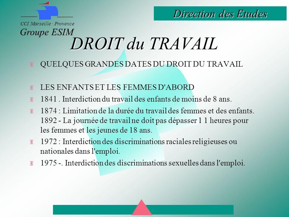 Direction des Etudes CCI Marseille · Provence Groupe ESIM DROIT du TRAVAIL  QUELQUES GRANDES DATES DU DROIT DU TRAVAIL  LES ENFANTS ET LES FEMMES D ABORD  1841.