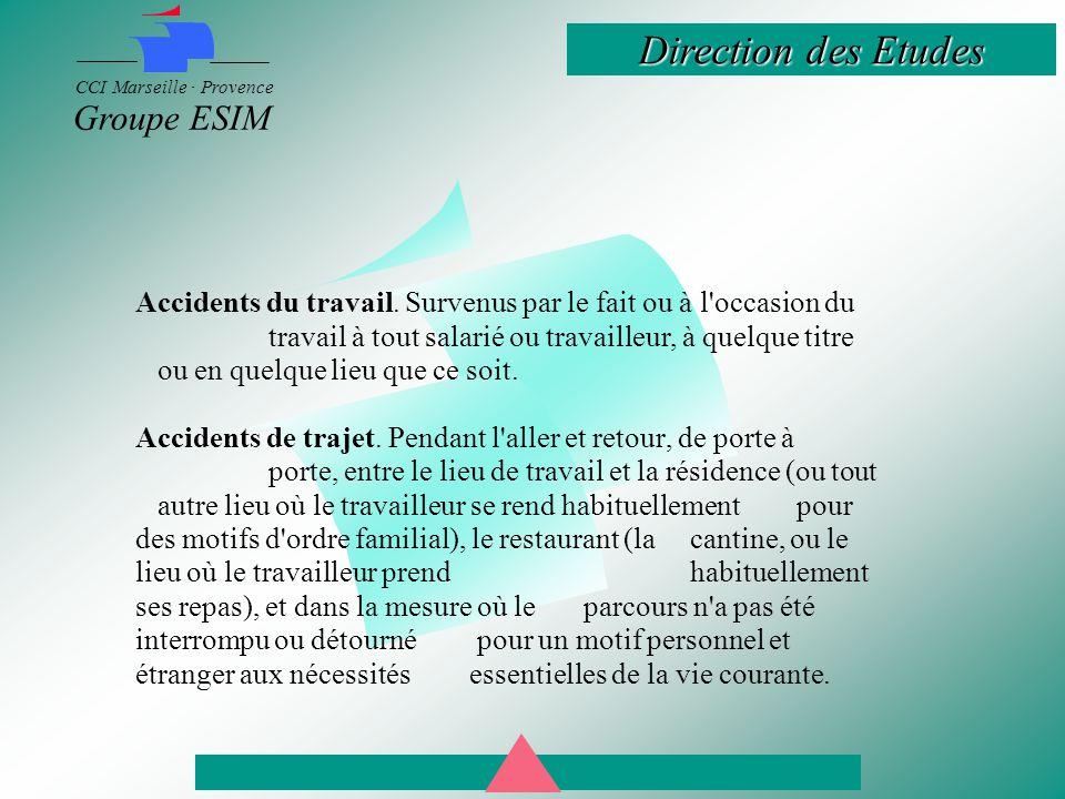 Direction des Etudes CCI Marseille · Provence Groupe ESIM Accidents du travail.