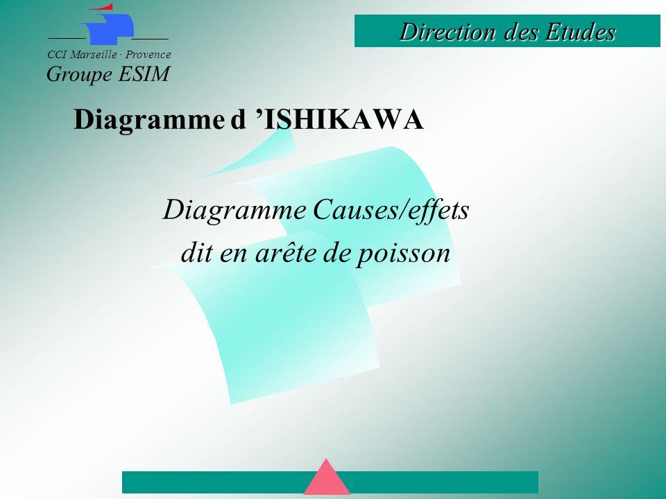 Direction des Etudes CCI Marseille · Provence Groupe ESIM Diagramme d 'ISHIKAWA Diagramme Causes/effets dit en arête de poisson