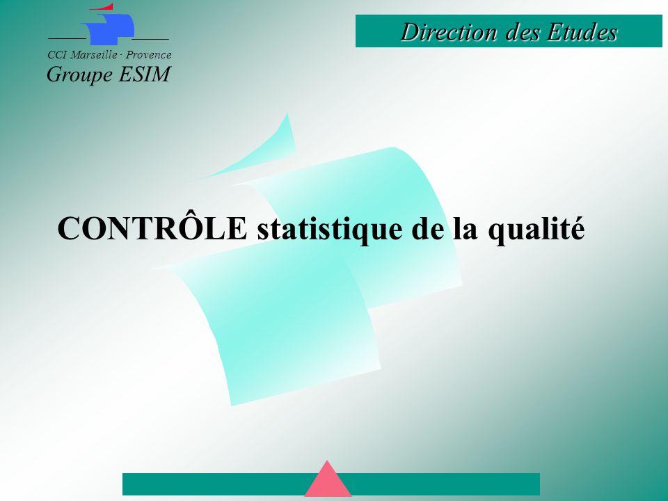 Direction des Etudes CCI Marseille · Provence Groupe ESIM CONTRÔLE statistique de la qualité