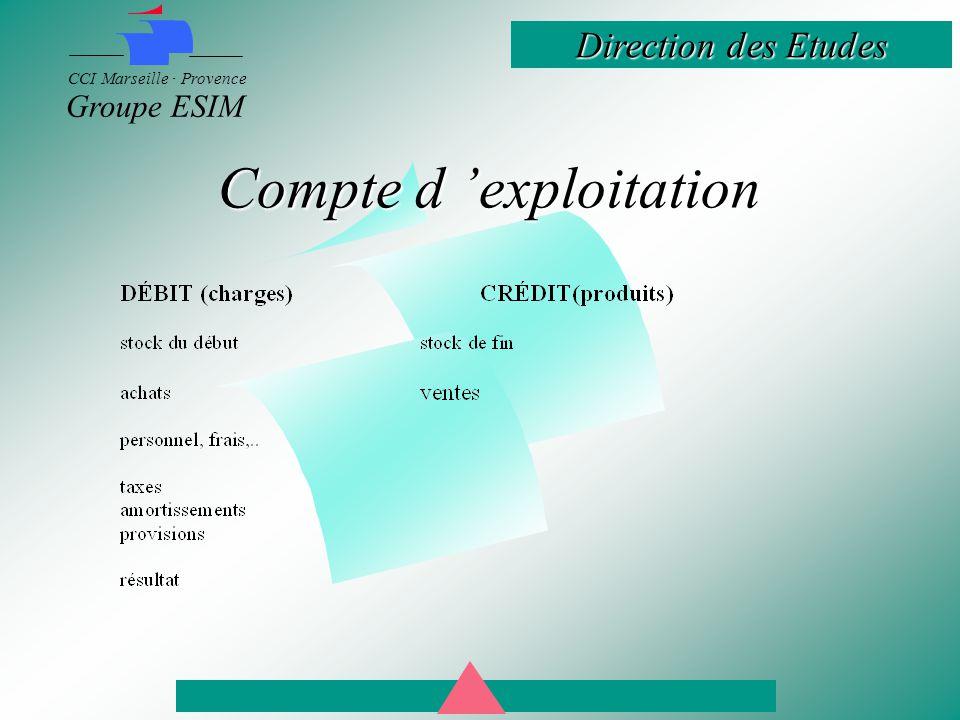 Direction des Etudes CCI Marseille · Provence Groupe ESIM Compte d 'exploitation