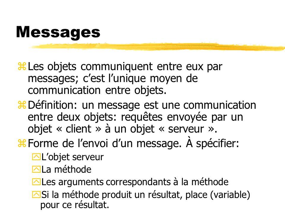 Messages zLes objets communiquent entre eux par messages; c'est l'unique moyen de communication entre objets. zDéfinition: un message est une communic