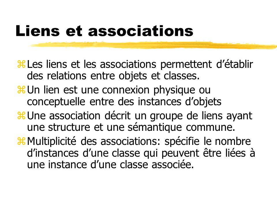 Liens et associations zLes liens et les associations permettent d'établir des relations entre objets et classes. zUn lien est une connexion physique o