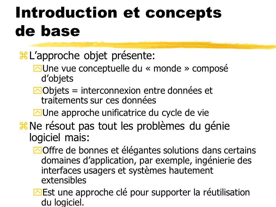 Introduction et concepts de base zL'approche objet présente: yUne vue conceptuelle du « monde » composé d'objets yObjets = interconnexion entre donnée