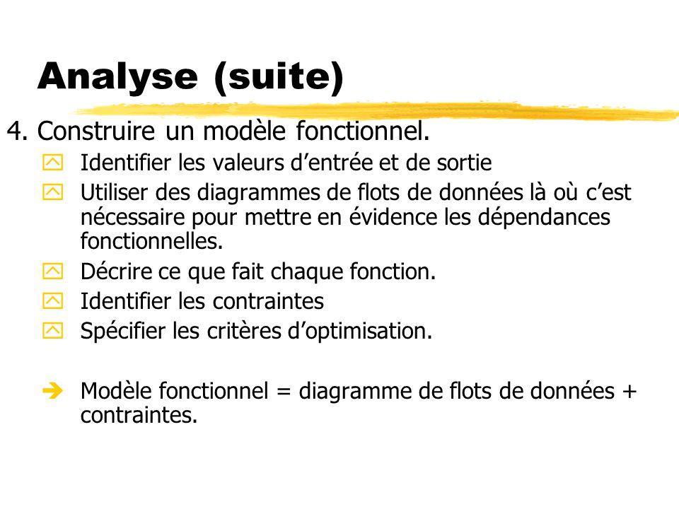 Analyse (suite) 4. Construire un modèle fonctionnel. yIdentifier les valeurs d'entrée et de sortie yUtiliser des diagrammes de flots de données là où