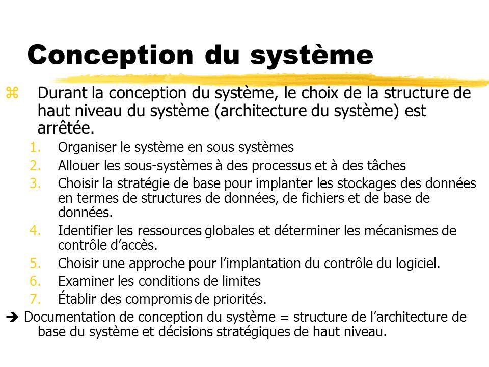Conception du système zDurant la conception du système, le choix de la structure de haut niveau du système (architecture du système) est arrêtée. 1.Or