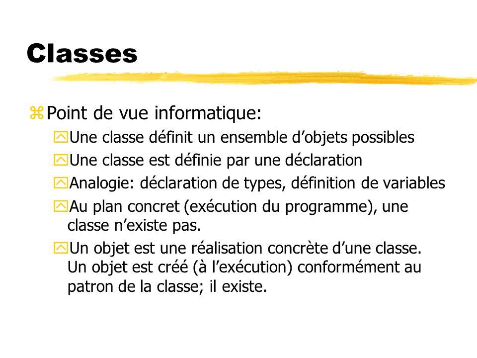 Classes zPoint de vue informatique: yUne classe définit un ensemble d'objets possibles yUne classe est définie par une déclaration yAnalogie: déclarat