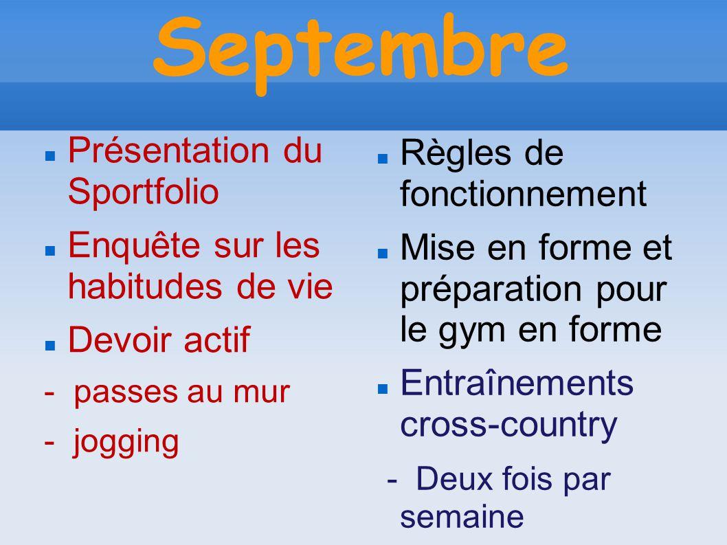 Septembre Présentation du Sportfolio Enquête sur les habitudes de vie Devoir actif - passes au mur - jogging Règles de fonctionnement Mise en forme et