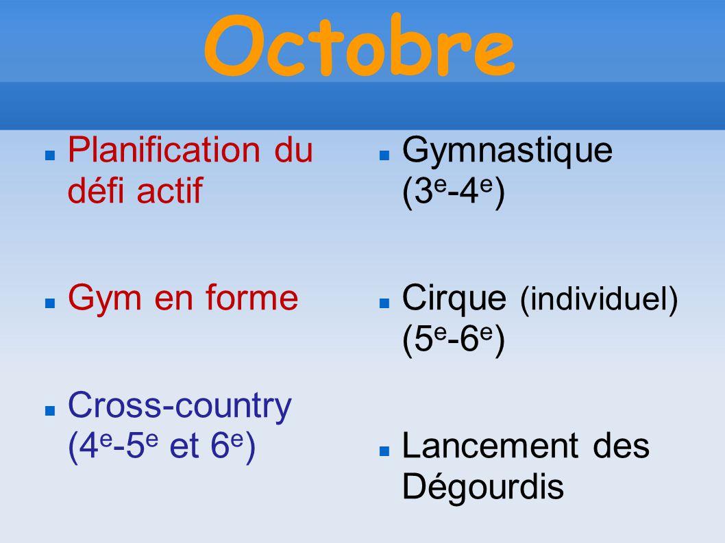 Octobre Planification du défi actif Gym en forme Cross-country (4 e -5 e et 6 e ) Gymnastique (3 e -4 e ) Cirque (individuel) (5 e -6 e ) Lancement des Dégourdis