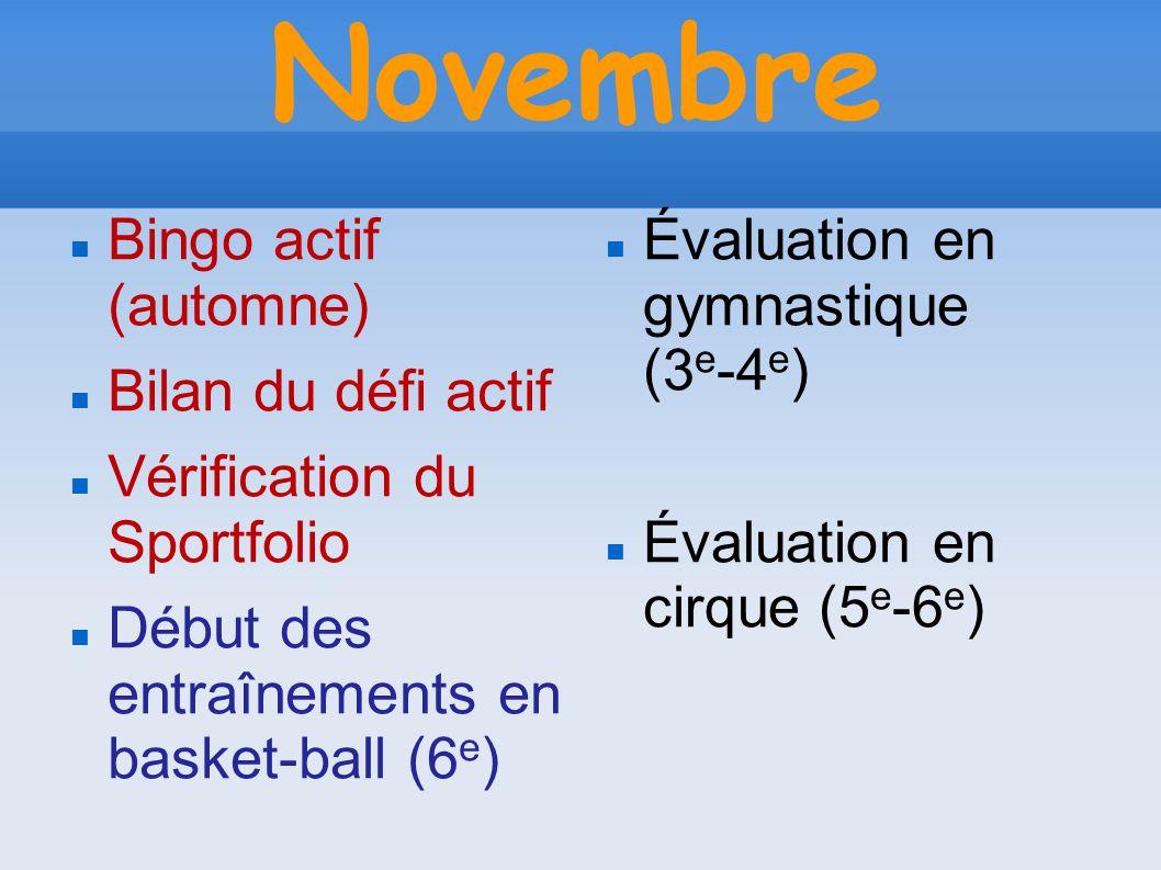 Novembre Bingo actif (automne) Bilan du défi actif Vérification du Sportfolio Début des entraînements en basket-ball (6 e ) Évaluation en gymnastique (3 e -4 e ) Évaluation en cirque (5 e -6 e )